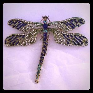 Natasha Rhinestone Dragonfly Stunning Brooch Pin